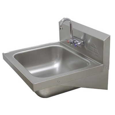 Stainless Steel Hand Sink With Splash Mounted Gooseneck Faucet
