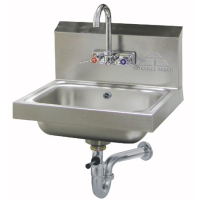 Stainless Steel Hand Sink With Splash Mounted Gooseneck Faucet And Lever Drain With Built-In Overflow And P-Trap