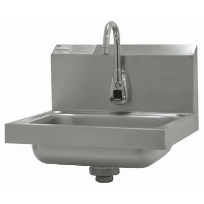 Stainless Steel Hand Sink With Electronic Splash Mounted Gooseneck Faucet