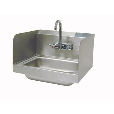 Stainless Steel Side Splash Hand Sink With Splash Mounted Gooseneck Faucet