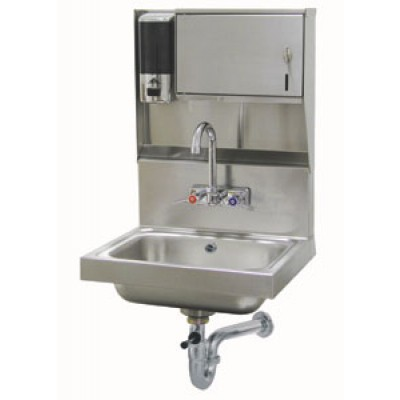 Stainless Steel Hand Sink With Soap And Paper Towel Dispenser And Splash Mounted Gooseneck Faucet