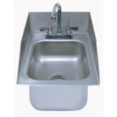 Stainless Steel Rear And Side Splash One Compartment Drop-In Sink With Deck Mounted Gooseneck Faucet