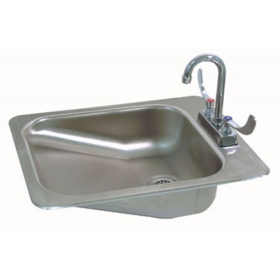 Stainless Steel A.D.A. Compliant Drop In Sink With Deck Mounted Gooseneck  Faucet