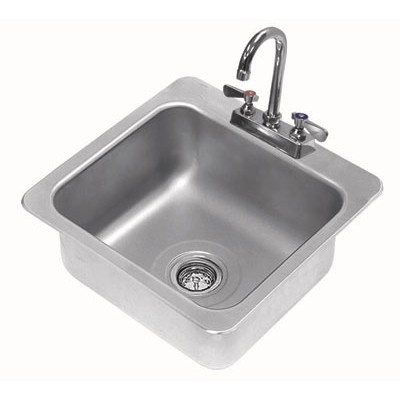 Stainless Steel One Compartment Drop-In Sink With Deck Mounted Gooseneck Faucet