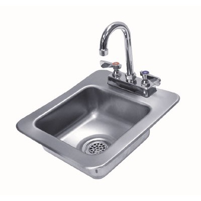Stainless Steel Space Saver One Compartment Drop-In Sink With Deck Mounted Gooseneck Faucet