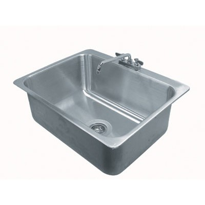 Stainless Steel Largest One Compartment Drop-In Sink With Deck Mounted Gooseneck Faucet