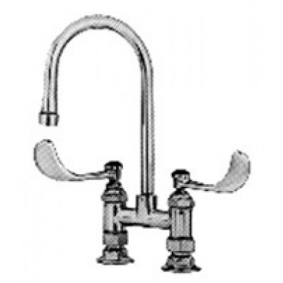 "Stainless Steel Deck Mounted Extra Heavy Duty Rigid Gooseneck Faucet With 4"" Wrist Handles"
