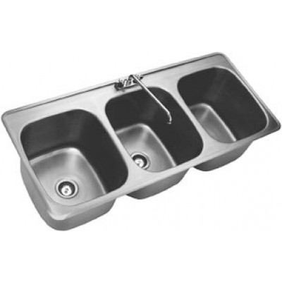 ... 3 Compartment Sink Faucet : Stainless Steel Three Compartment  Countertop Drop In Sink ...