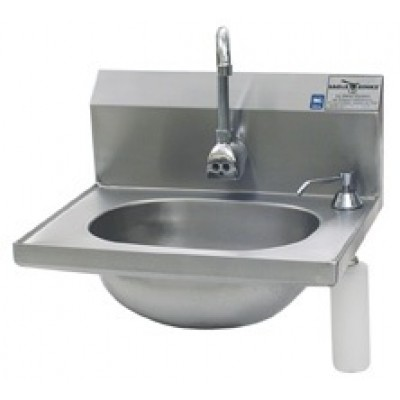 Stainless Steel Hand Sink With Deck Mounted Soap Dispenser And Electronic Eye Splash Mounted Gooseneck Faucet