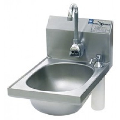 Stainless Steel Narrow Hand Sink With Deck Mounted Soap Dispenser And Electronic Eye Splash Mounted Gooseneck Faucet
