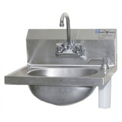Stainless Steel Hand Sink With Deck Mounted Soap Dispenser And Splash Mounted Gooseneck Faucet