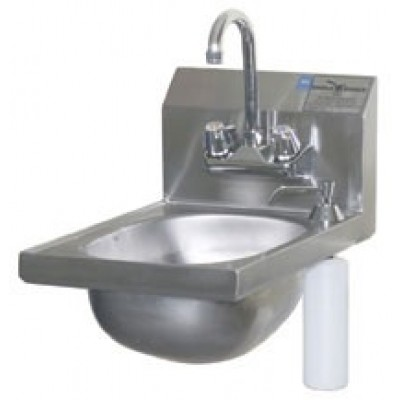 Stainless Steel Narrow Hand Sink With Deck Mounted Soap Dispenser And Splash Mounted Gooseneck Faucet