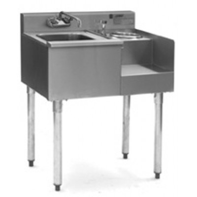 Stainless Steel One Compartment Underbar Sink With Blender Module And Splash Mounted Faucet
