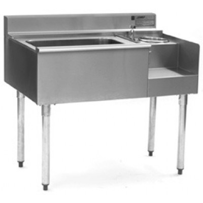 Stainless Steel One Compartment Underbar Sink With Blender Module And Ice Chest